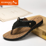 Red Dragonfly leather men's slippers 2015 summer styles authentic comfort toe casual beach boys slippers