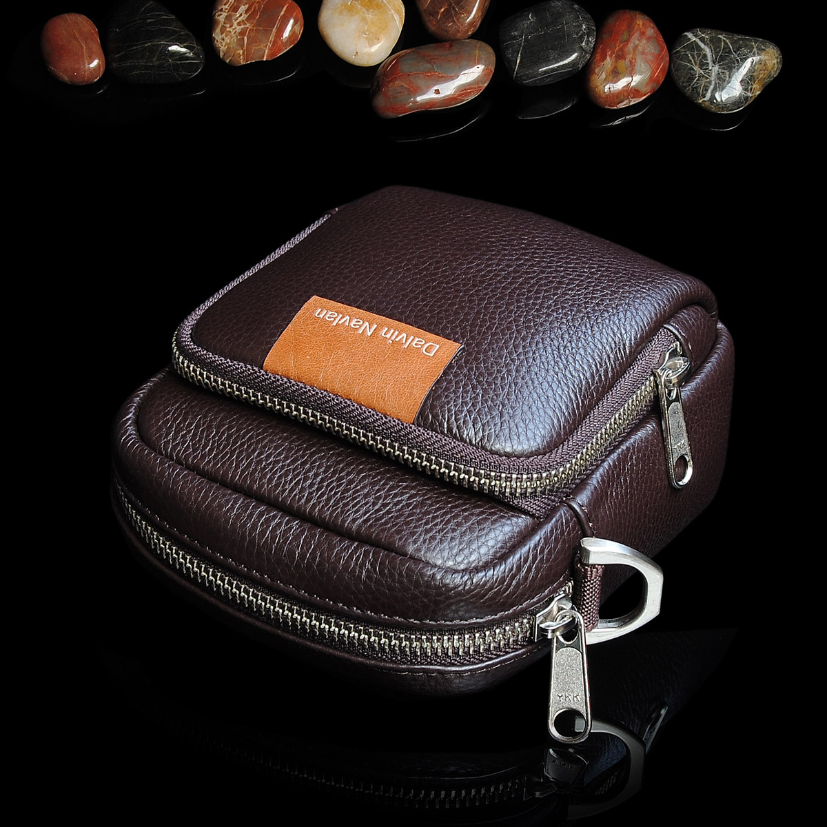 Classic davannaland leather waist bag leisure Korean multi-functional mens waist bag cow leather shoulder bag
