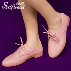 Interesting new leather shoes in question contracted with Candy-colored suede leather flat heel shoes white shoes T01619