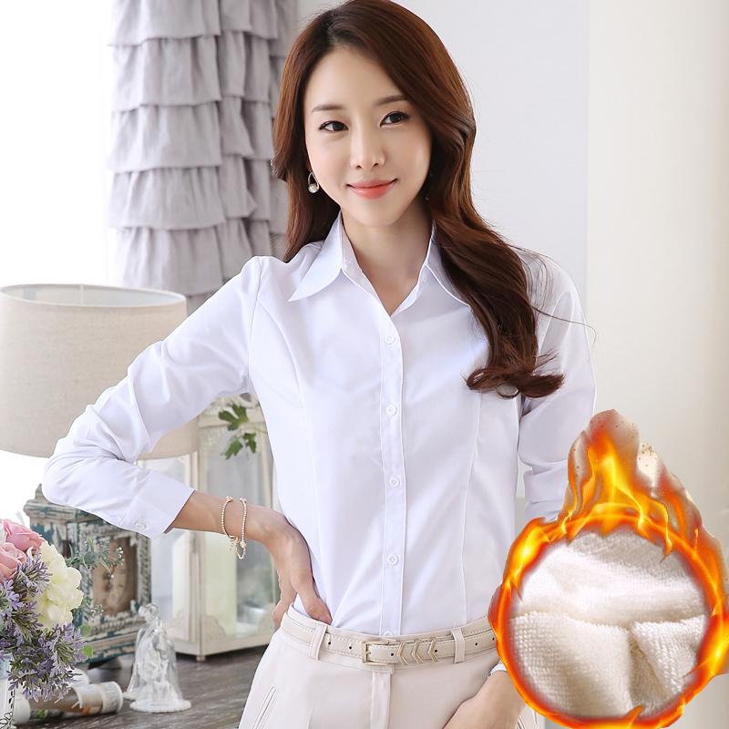 2016 春秋女裝長袖加厚加絨襯衫女職業工裝大碼正裝女士白襯衫
