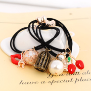 Know NI the Korean version of elastic hair bands of high-elastic two-rope hair decorated headdress imitation pearls of fine string line
