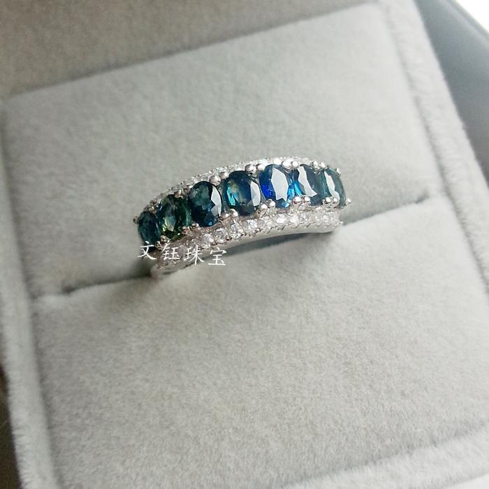 工厂直销正品天然蓝宝石戒指女925银宝石戒指气质排戒 好火彩!