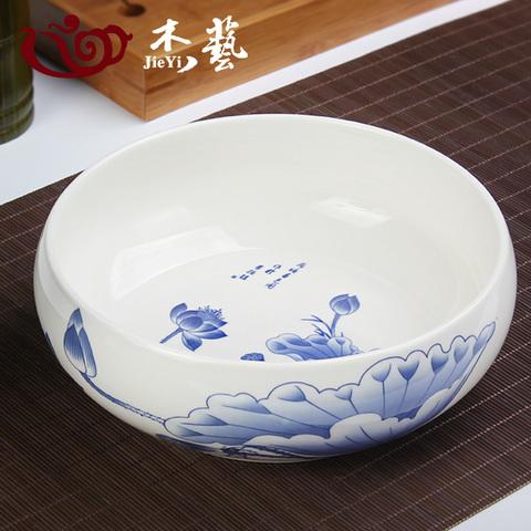 茶洗大号特大家用笔洗青花瓷陶瓷茶具配件洗茶碗茶道零配水盂水洗