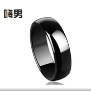 Simple Korean fashion retro single men wide aperture polished black ceramic Ring smooth rings jewelry