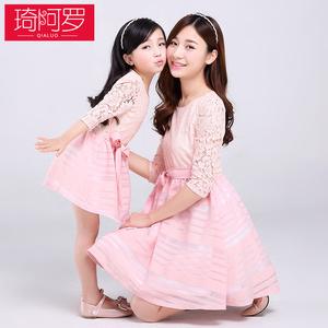 亲子装款春夏装母女装连衣裙女童韩版蕾丝母女公主裙蓬蓬裙潮