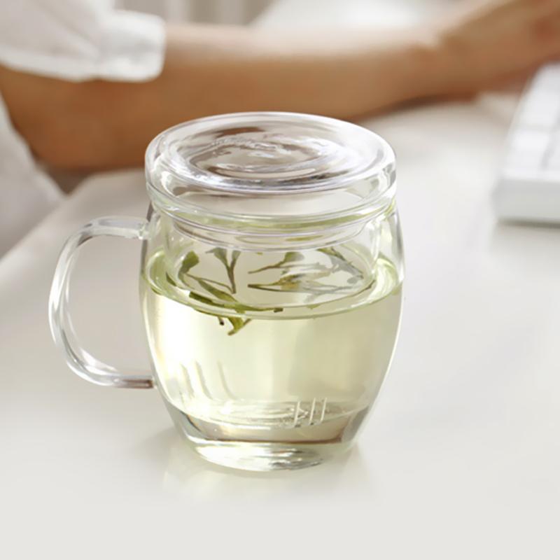 乐怡玻璃茶杯耐热透明家用花茶杯办公室泡茶杯男过滤带把喝茶杯子