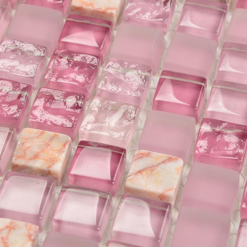 石材の水晶のモザイクは簡単に現代の客間の玄関の背景の壁のタイルの紫のピンクのトイレの壁紙を予約します。
