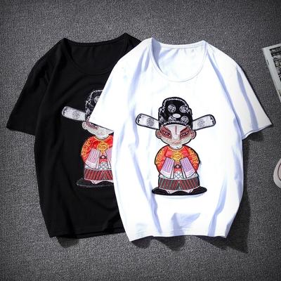 小财神贴布绣 中国风圆领刺绣短袖 大码T恤男 QT2006A_T1205_P30