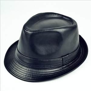 新款英伦男士皮革爵士帽子男礼帽冬天保暖皮帽潮流中老年帽子包邮