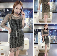 Summer new fashion hollow out five points in the sleeve accept waist long handmade sequins in Europe and the United States net unlined upper garment knitting fashion female