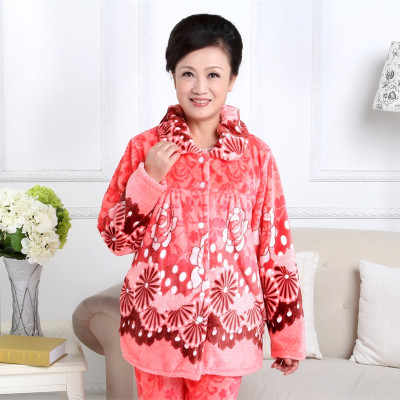 1af90adf8d Old people in the fall and winter coral fleece pajamas women cardigan  flannel mother upset mink wool household to take