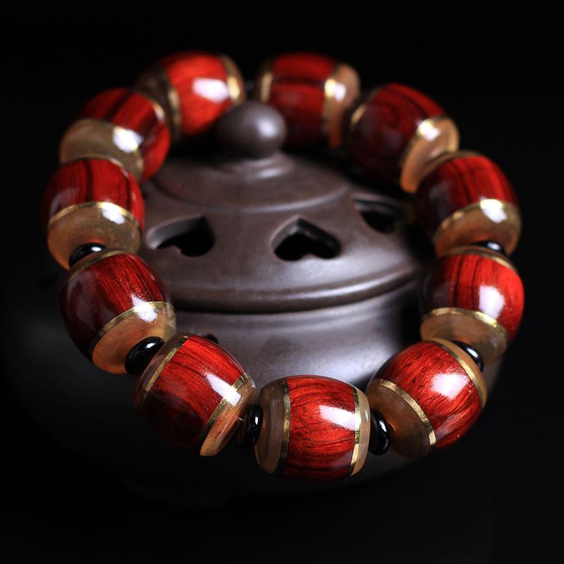 天然红色大叶紫檀桶珠镶嵌羊角男士佛珠手串转运保平安手链包邮