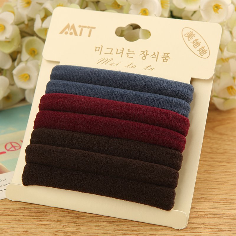 Seamless Korean hair binding black leather cover hair accessories small hairpin rubber band headdress hair rope headband package mail