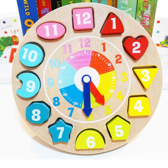 木制数字形状积木时钟木质配对玩具 儿童益智宝宝玩具 拼接凹槽式
