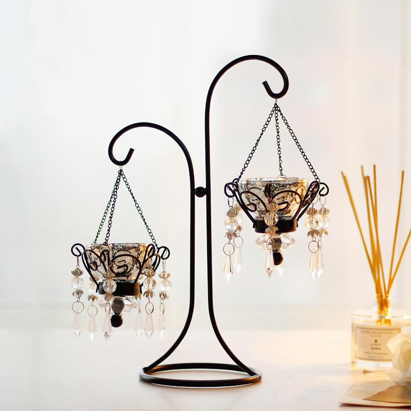 歐式複古浪漫 鐵藝蠟燭台擺件家居燭光晚餐道具水晶燭台裝飾品