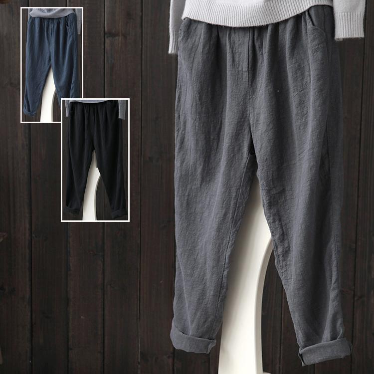 Западный отсутствие оригинал женщины литература и искусство модель льняная ткань женские брюки осенью и зимой свободный тонкий случайный лен харлан девять очков сын