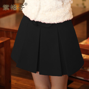 Purple plaid pleated skirts new autumn thick woolen skirt short skirt female winter Korean version of a winter skirt dress