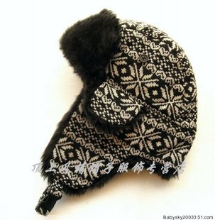 DCL19 Crown hat shop export Lei Feng hat winter hat ear cap wool Nepalese black snowflakes
