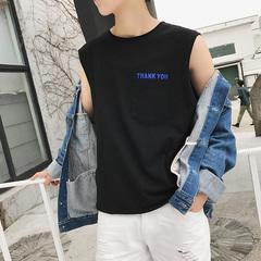 新款夏装 港风文艺男英文印花圆领套头背心 B08-P35