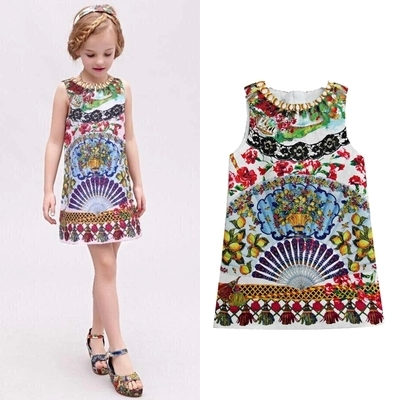 15 years spring with Europe and the United States sleeveless dresses of the girls High-end custom fan sundress children's clothes