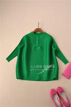 时尚中国风清货 三宅褶皱小包扣七分袖上衣大码压褶衬衫D6195