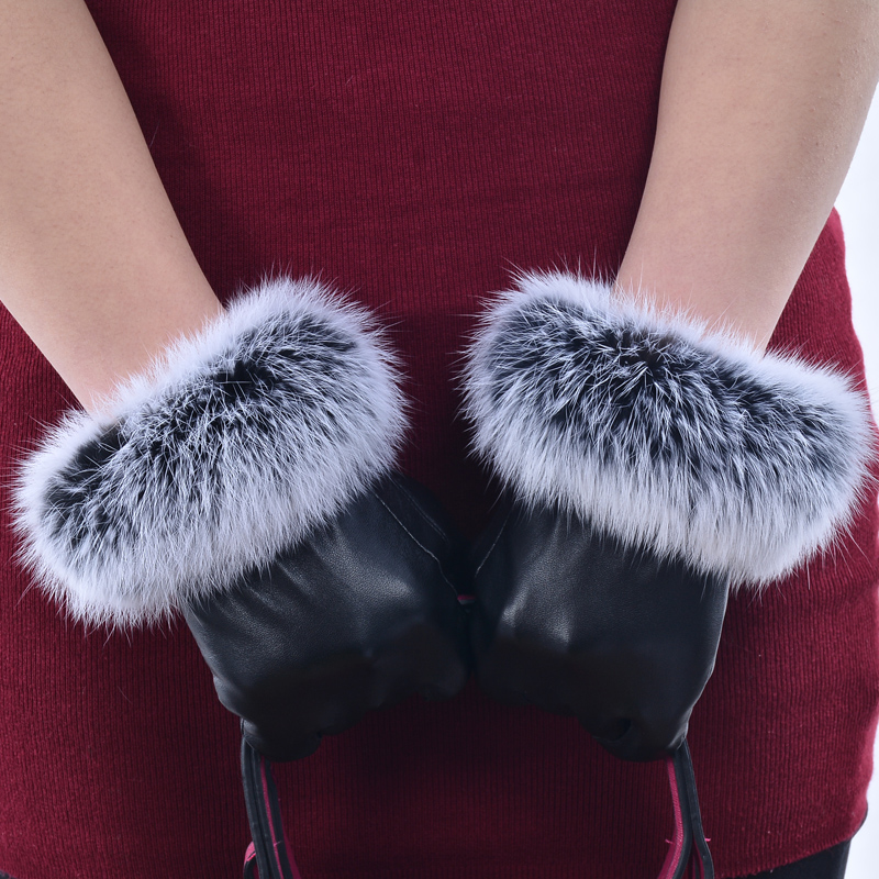 Ladies lovely rabbit hair and plush warm gloves for lovers
