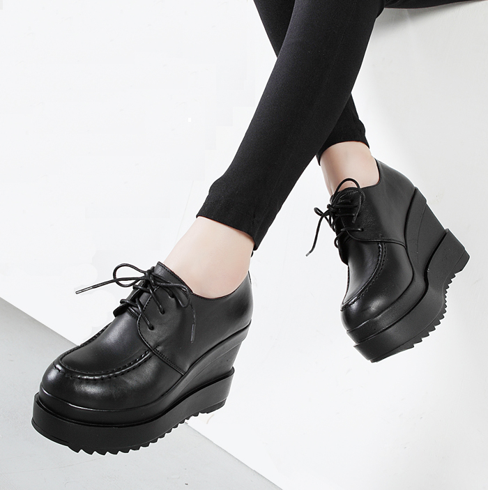Genuine leather autumn round toe thick soled shoes muffin shoes British retro waterproof platform slope heel super high heel single shoes womens shoes lace up