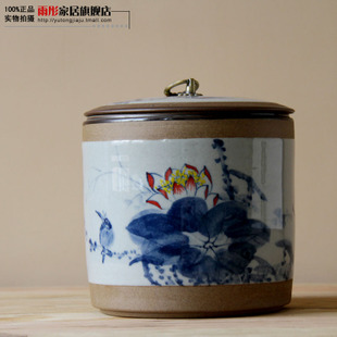 Oversized hand painted lotus Pu er Tea Caddy pure hand painted ceramic tea caddy manual casting large mug