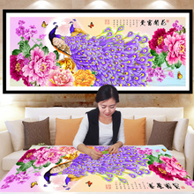5D Diamond Painting Peacock Living Room 2018 New Full Drill Point Sticking Cross Embroidery Blossoms Rich Brick and Stone Profile 2019