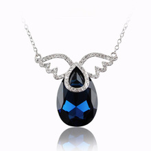 Three sword act the role ofing is tasted Europe and the United States high-grade Austrian crystal necklace In the spring of brief paragraph angel clavicle necklace pendant gift