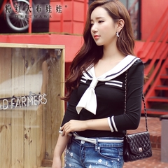 T shirt women long sleeves Pink doll 2015 autumn wave of Korean ladies in black and white sailor collar College t shirt
