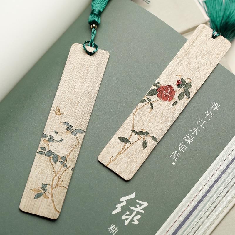 手工彩绘红木书签套装 简约文创小纪念品精美木质古典中国风书签 创意复古文艺古风礼物女生生日礼品定制刻字