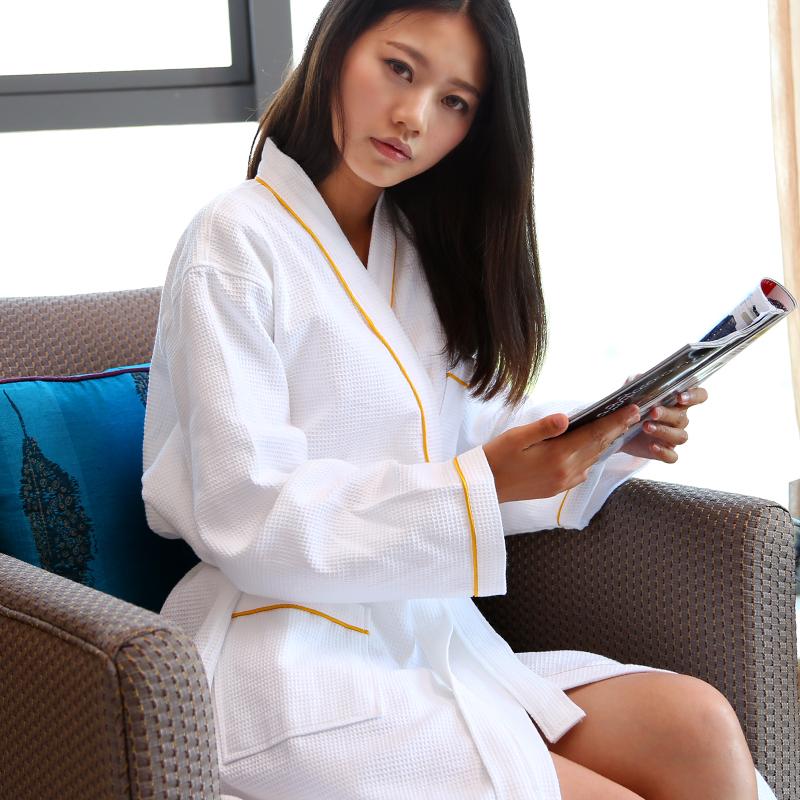 2019春夏季全棉华夫格情侣睡袍男女白色五星级酒店浴袍长款浴衣