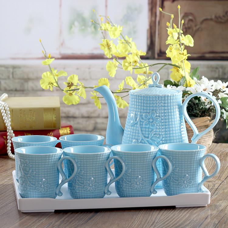 Спеццена на качественную продукцию холодная вода горшок чашки установите вода инструмент костяной фарфор творческий сопротивление горячей керамика прохладно чайник чашка инструмент чайный сервиз цвет глазурь