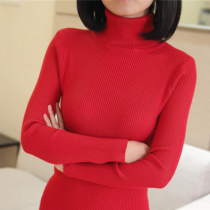 Fall 2018 new high neck long sleeve sweater womens slim fit Pullover T-shirt versatile top