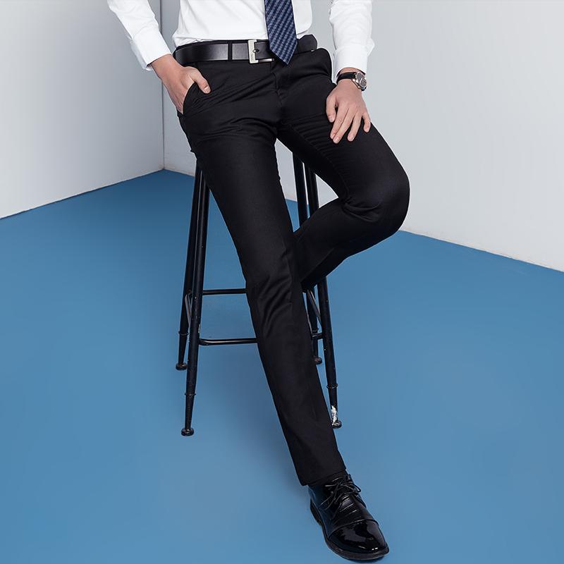 易文男士西裤商务休闲修身型西装长裤子宽松正装西服黑色直筒裤春