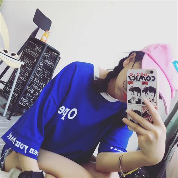 中袖T恤女夏韓國ulzzang刺繡短袖體恤 原宿學生寬鬆半袖上衣服