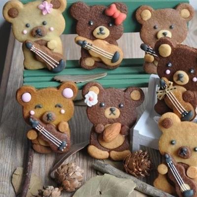 日本进口森林动物音乐吉他小熊抱熊龙猫松鼠浣熊饼干曲奇翻糖模具