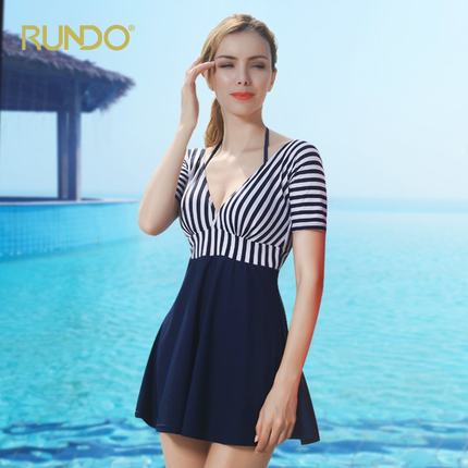 2017 New Women's 1-peice Skirt Type Striped Swimsuit