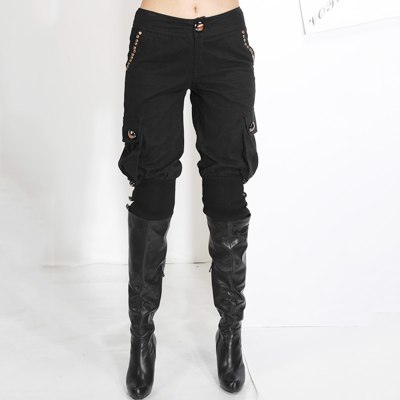 2016 black autumn and winter clothes cotton 7-point Korean version slim mid Waist Wide Leg lantern pants womens boots and pants clearance