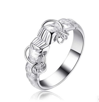 S925 Sterling Silver fist ring open ring is a small gift for elders