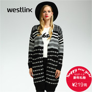 Westlink/West 2015 winter new style black and white geometric thickened long sweater women sweater coats