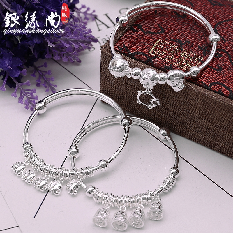 Silver Bracelet S990 full silver female hollowed out bell transfer bead push pull silver bracelet with small bell to send gift to girlfriend