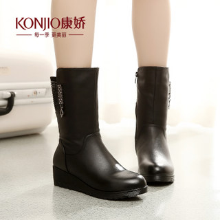 Kang Jiao 2015 winter boots women short boots shoes autumn new products simple round casual smocks, flat bottom increased