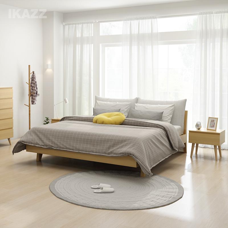 Нордический стиль двуспальная кровать 1.8 метр 1.5 господь ложь мебель современный простой деревянные кровати ткань брак кровать YD