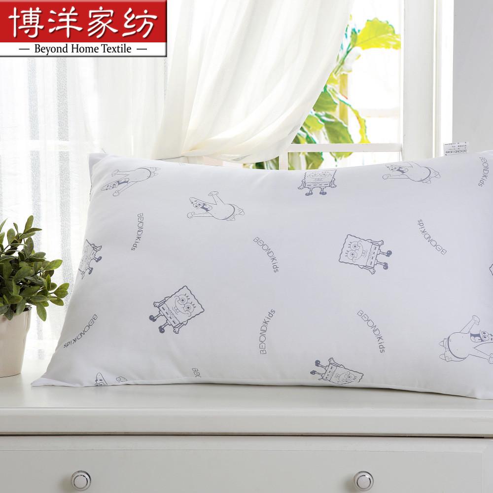 博洋寶貝家紡兒童海綿寶寶可愛卡通柔軟纖絲枕頭學生小孩枕芯枕心