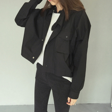 Fall 2015 new European and American wind locomotive female jacket brief paragraph cultivate one's morality short coat OVERSIZE loose bat sleeve