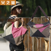 Lake of fire canvas bag 2015 splicing new Korean version flows sweet ladies bag shoulder Crossbody bag