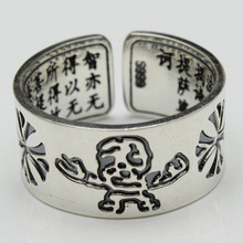 S999 fine silver male ring Crow skull opening new restoring ancient ways ring made old national import Thai silver bag mail