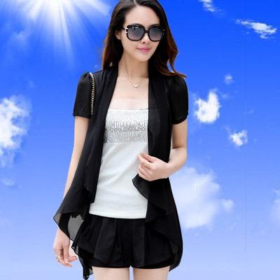 夏季中长款大码显瘦女短袖雪纺披肩薄开衫外搭防晒衣空调衫薄外套